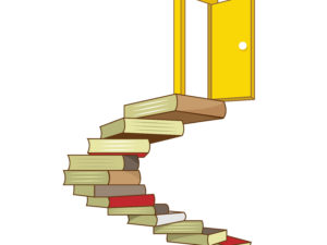Yellow door book stairs